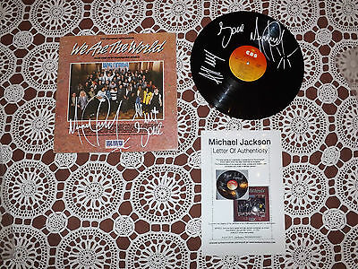 Michael Jackson Two Signed Cover And Vinil We Are The World Coa Certificated