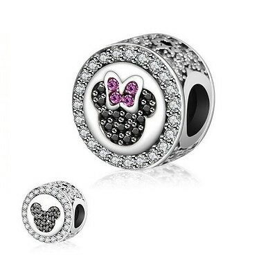 925 Silver EURO Charm Mickey Minnie Mouse Sparkling Icons  +FREE Pandora Cloth