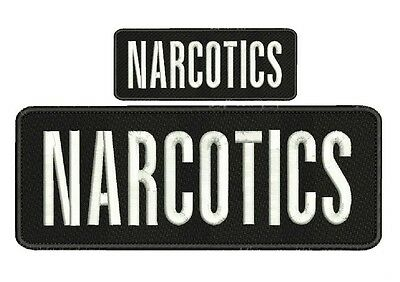 """NARCOTICS embroidery patches4 X 10"""" and 2x5 hook  ON BACK"""
