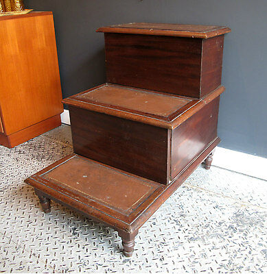 Victorian Library Steps - Mahogany and Leather with Hidden Storage - Antique