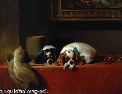 1845 Landseer~2 Cavalier King Charles Spaniel Dogs~Feathered Hat~ NEW Note Cards