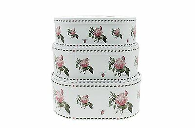 Redoute Oval Rose Storage Or Gift Boxes Set Of 3