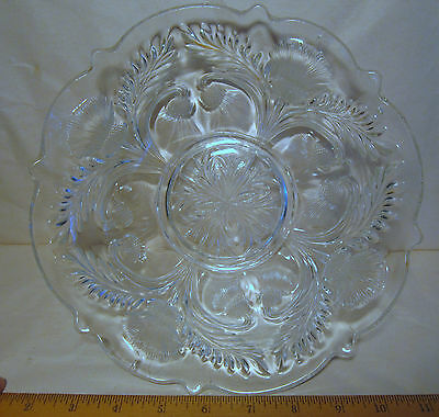 """Thistle American Cambridge clear embossed pressed glass bowl c. 1906 9"""" scallop"""
