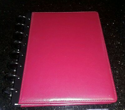 """Staples Arc Leather Notebook, Red, 6-3/4"""" x 8-3/4"""" Disc Rollabind, Happy Planner"""