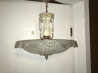 Vtg 1930's Porcelier Chandelier Porcelain Ceiling Light Fixture Antique Floral