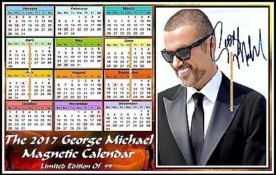 George Michael, Autographed, 2017, A4 MAGNETIC CALENDAR, Limited Edition (M3-GM)