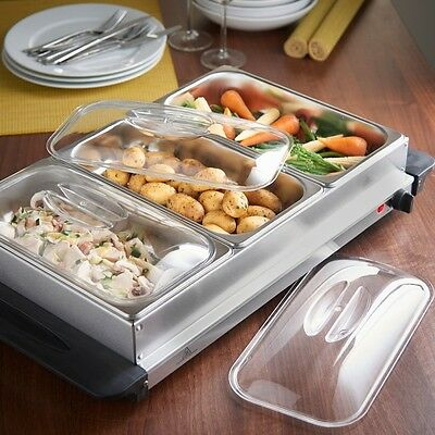 Premium Buffet Server Warmer Extra Large Plate 3 x 2.5lt Capacity Party Dinner