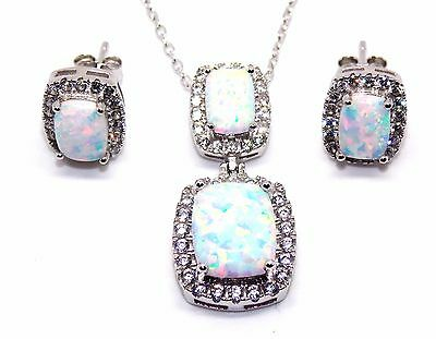 Sterling Silver Fire Opal And Diamond 11.75ct Emerald Cut Necklace Set (925)