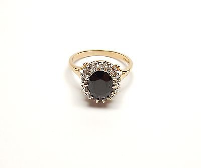 Sapphire and Diamond Cluster Ring Vintage 9 carat yellow gold P1/2 3.9g