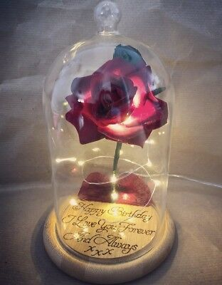 Beauty and the Beast Enchanted Rose ** With Free Personalised Wood Engraving**
