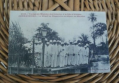 Carte postale coloniale groupe ministre colonies wharf bingerville ed. Fortier