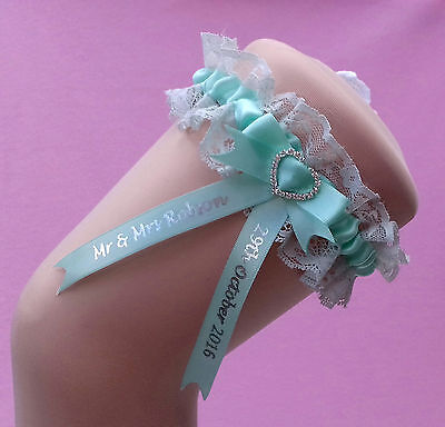 Mint Personalised Wedding Garter - Comes with a lucky sixpence