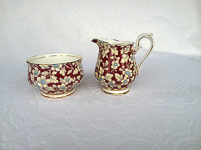 Royal Albert Burgunday 'BROCADE' Open Sugar & Creamer (500)
