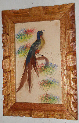 Vintage Mexican Feather CRAFT Bird Picture Carved Wood Frame  Mexico  #J