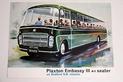 PLAXTON EMBASSY III COACH on BEDFORD SB CHASSIS BROCHURE 1963 - MINT CONDITION