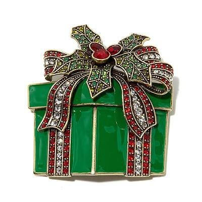Heidi Daus Pretty Package Christmas Pin / Brooch ~ New In Box ~ Free Shipping ~