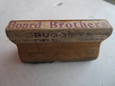 Antique Wood & Rubber Druggist Stamp Board Brothers Mansfield Texas TX