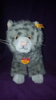 Steiff cat Kitty gray with black stripes