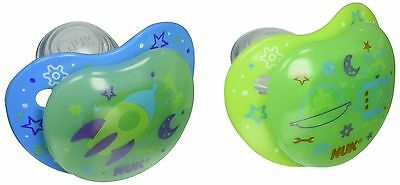 Nuk Night Glow Glow in The Dark Pacifiers in Assorted Colors and Styles 6-18 ...