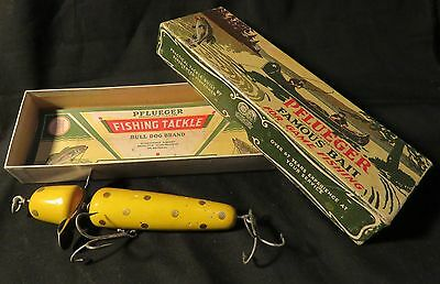 Vintage Pflueger Famous Bait 3750 Yellow Gold Dots 5 1/4 Globe Bait Fishing Lure