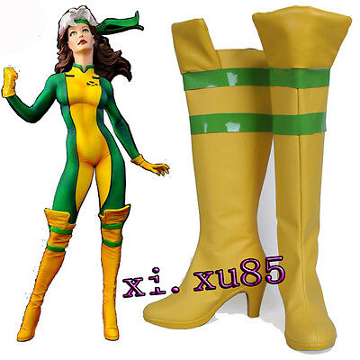 Pretty BOOTS COS X-Men Rogue Cosplay BootS Costume Shoes Boots Yellow High Heel