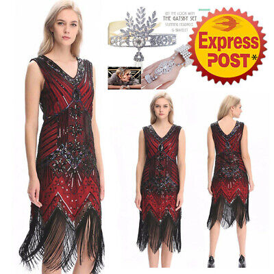 1920S 30S FLAPPER Dress Gatsby Vintage Charleston Party Sequin ...