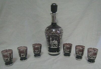 Antique Amethyst Glass Decanter & 6 Cordial Cups Sterling Silver Overlay