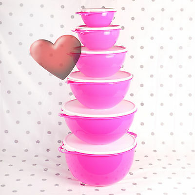 NEW Tupperware Thats a Bowl Huge set of 6 Fluro Pink Tower Nesting Bowls Neon