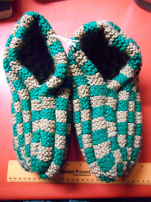 Size 10-11  Hand made slippers extra warm Green/Tan