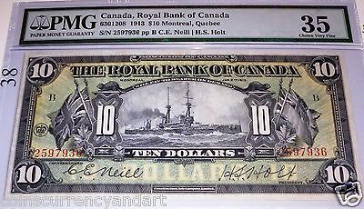 1913 $10 Royal bank of Canada -HIGH GRADE PMG 35 EPQ (ONLY 7 NOTES HIGHER GRADE)