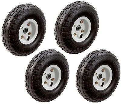 Pneumatic Tires 10 in. Wheels Replacement Lawn Garden Cart Hand Truck (4 Pieces)