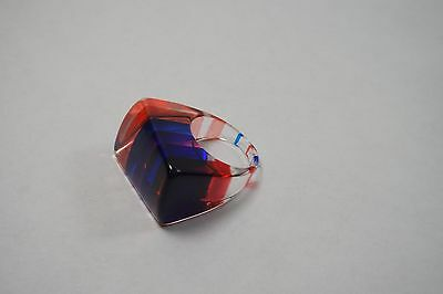 Vintage Striped Clear  Blue Red Lucite Plastic  Ring Size 6