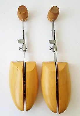 Vintage Pair Wood Shoe #4 Tree/Stretchers Metal Adjusters