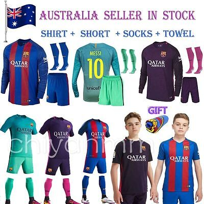 NEW Jersey Football Messi Home Away Football for kid Soccer Boy Youth With Socks