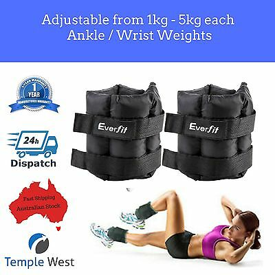 Ankle Weights 2 x 5kg Ballistic Training Fitness Adjustable Gym Leg Arm Tone
