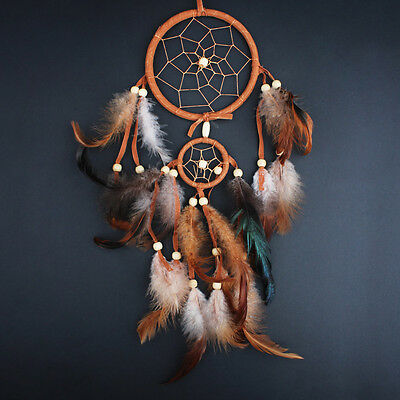 Brown Feather Medium size Indian Style Dream Catcher Handmade Hanging Decoration