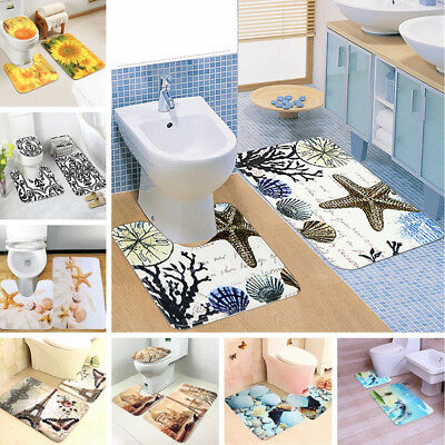 12 Types 2/3Pcs Set Non-Slip Bathroom Pedestal Lid Mat Toilet Shower Rug Carpet