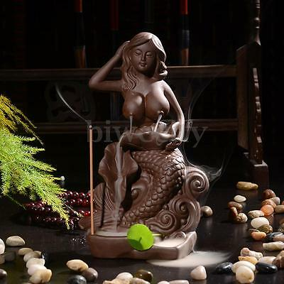 Ceramic Nude Mermaid Smoke Backflow Holder Art Stick Incense Burner w/ 5 Cones