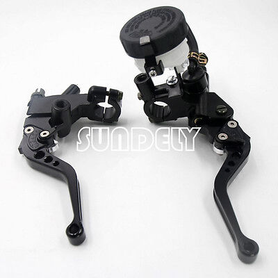 Black 7/8'' Motorcycle's Brake Clutch Master Cylinder Levers Reservoir Universal
