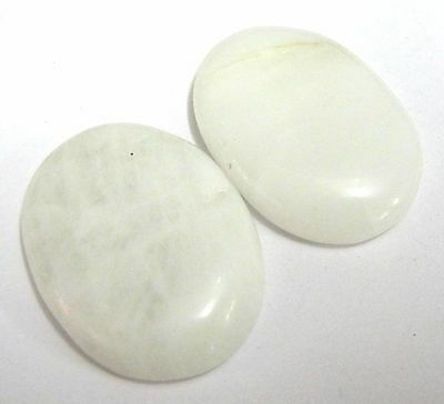 Set Of Two White Agate Worry Thumb Stones Crystal Healing Gift Reiki Energy