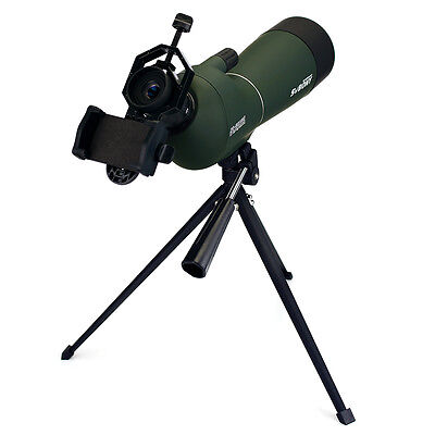 NEW 20-60x60mm Angled Zoom Spotting Scope Waterproof+Universal CellPhone Adapter