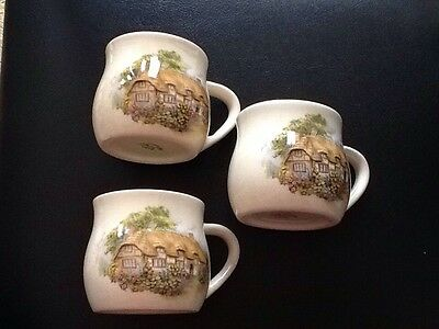 3 Brixham Devon Earthenware Cups With Cottage Widecombe In The Moor