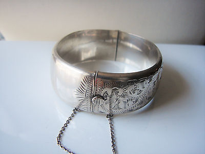 Vintage 1963 Solid Sterling Silver Engraved Deep Cuff Bangle