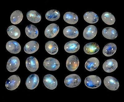 AAA Quality 20 Pc Natural Rainbow Moonstone 6x8 mm Oval Cabochon Loose Gemstone