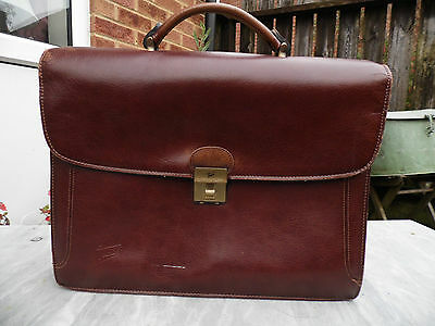 Vintage TEXIER Thick Leather Briefcase Men's or Women's
