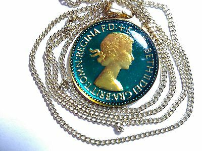 Enamelled 1953 sixpence coin Necklace in metal mount