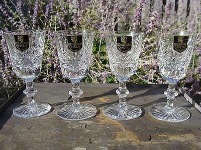 4 STAR OF EDINBURGH Scotland Scottish CRYSTAL Wine Cordial Glass Goblets 4 1/2""