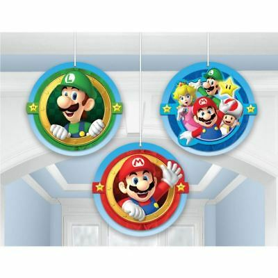 3 Super Mario Bros & Friends Children's Party Honeycomb Hanging Decorations