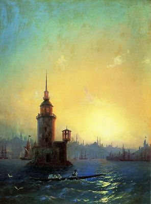 Oil Painting repro Ivan Aivazovsky View of Leandrovsk tower in Constantinople