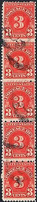 USA 1930 3c Red Postage Due Vertical Perf 11 Strip of 5 Used